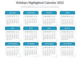 Holidays Highlighted Calendar 2022