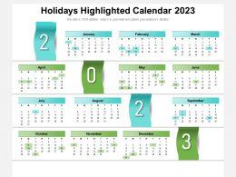 Holidays Highlighted Calendar 2023
