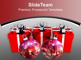 Holidays Images Of Jesus Red Boxes With Balls Christmas Powerpoint Templates Ppt For Slides