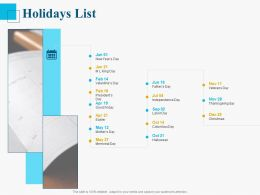 Holidays List Ppt Powerpoint Presentation Pictures Themes