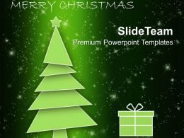 Holidays Winter Christmas Tree With Gift Box Powerpoint Templates Ppt Backgrounds For Slides