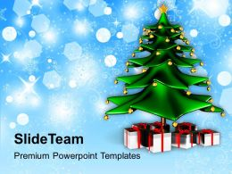 Holidays Winter Christmas Tree With Gifts Background Powerpoint Templates Ppt For Slides