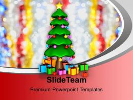 Holidays Winter Christmas Tree With Gifts Festival Powerpoint Templates Ppt Background For Slides