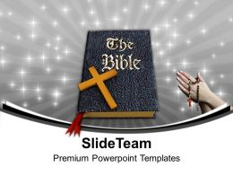 Holy Bible And Cross Christianity PowerPoint Templates PPT Backgrounds For Slides 0113