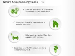 Home Car Cfl Green Power Sources Ppt Icons Graphics