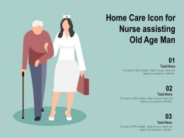 Home Care Icon For Nurse Assisting Old Age Man