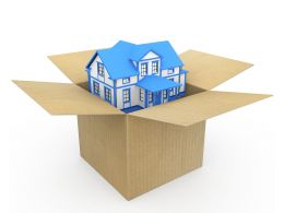Home In Carton On White Background Stock Photo