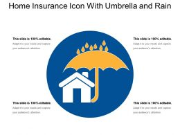 Home Insurance Icon With Umbrella And Rain