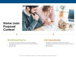 Home Loan Proposal Context Ppt Powerpoint Presentation Layouts Format