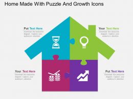 Home Made With Puzzle And Growth Icons Flat Powerpoint Design