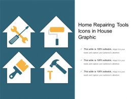 Home Repairing Tools Icons In House Graphic
