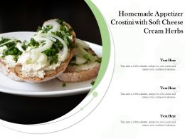 Homemade Appetizer Crostini With Soft Cheese Cream Herbs