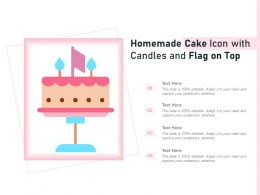 Homemade Cake Icon With Candles And Flag On Top