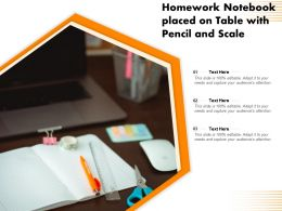 Homework Notebook Placed On Table With Pencil And Scale