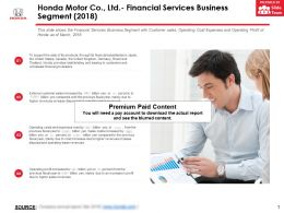 Honda Motor Co Ltd Financial Services Business Segment 2018