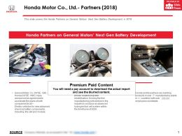 Honda Motor Co Ltd Partners 2018