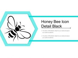 Honey Bee Icon Detail Black