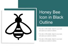 Honey Bee Icon In Black Outline