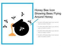 Honey Bee Icon Showing Bees Flying Around Honey
