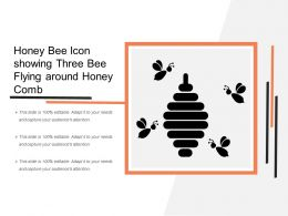 Honey Bee Icon Showing Three Bee Flying Around Honey Comb