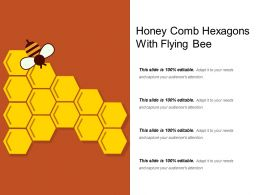 Honey Comb Hexagons With Flying Bee