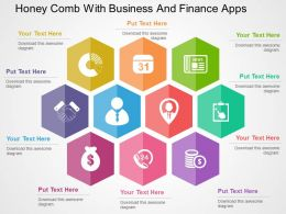 Honey Comb With Business And Finance Apps Flat Powerpoint Design