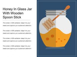 Honey In Glass Jar With Wooden Spoon Stick