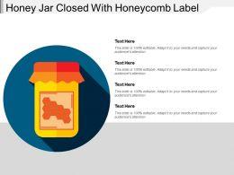 Honey Jar Closed With Honeycomb Label