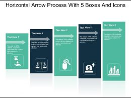 Horizontal Arrow Process With 5 Boxes And Icons