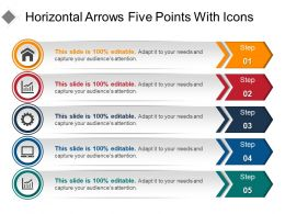 Horizontal Arrows Five Points With Icons