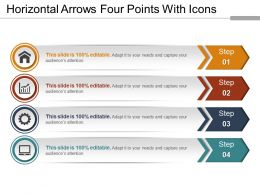 Horizontal Arrows Four Points With Icons