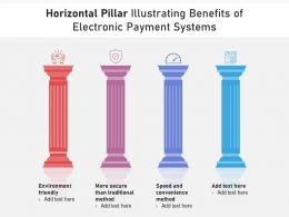 Horizontal Pillar Illustrating Benefits Of Electronic Payment Systems