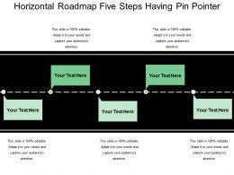 Horizontal Roadmap Five Steps Having Pin Pointer