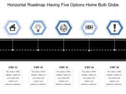 Horizontal Roadmap Having Five Options Home Bulb Globe
