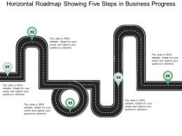 Horizontal Roadmap Showing Five Steps In Business Progress
