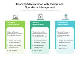 Hospital Administration With Tactical And Operational Management