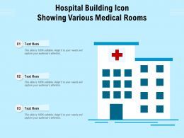 Hospital Building Icon Showing Various Medical Rooms