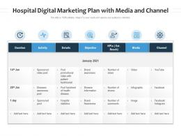 Hospital Digital Marketing Plan With Media And Channel