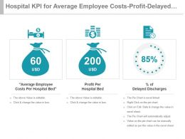 Hospital Kpi For Average Employee Costs Profit Delayed Discharges Powerpoint Slide