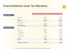 Hospital Management Business Plan Financial Statement Under Two Alternatives Ppt Visuals
