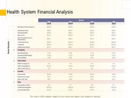 Hospital Management Business Plan Health System Financial Analysis Ppt Powerpoint Samples