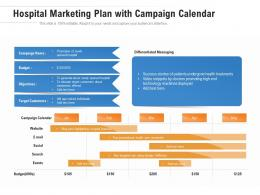 Hospital Marketing Plan With Campaign Calendar