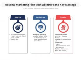 Hospital Marketing Plan With Objective And Key Message