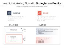 Hospital Marketing Plan With Strategies And Tactics