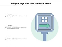 Hospital Sign Icon With Direction Arrow