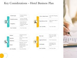 Hospitality Key Considerations Hotel Business Plan Potential Customers Ppts Ideas