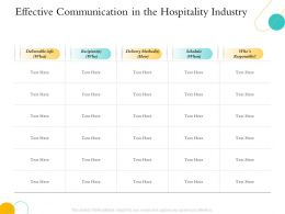 Hospitality Management Industry Communication In The Hospitality Industry Ppts Layouts