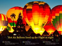 Hot Air Balloon Lined Up For Flight At Night