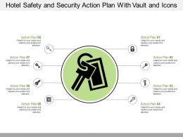 Hotel Safety And Security Action Plan With Vault And Icons