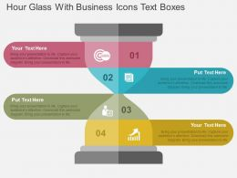Hour Glass With Business Icons Text Boxes Flat Powerpoint Design